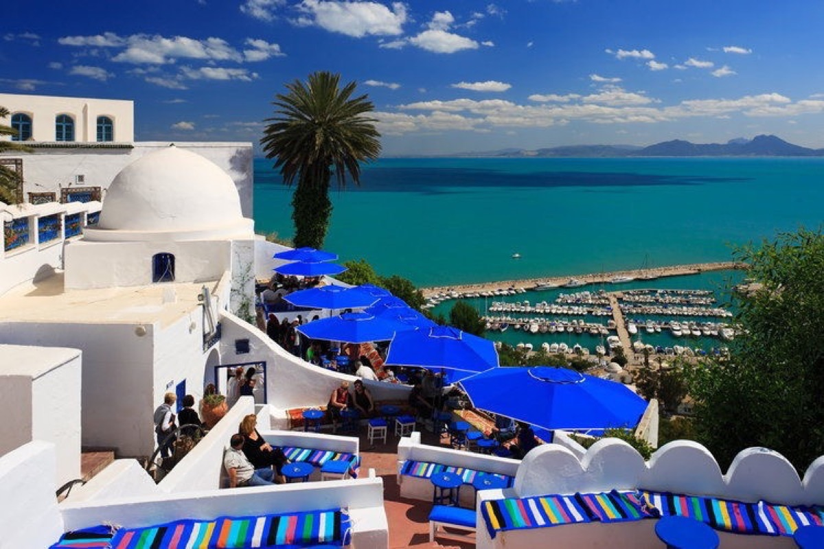 Cafe Sidi Chabaane in Sidi Bou Said ¸ber dem Golf von Tunis, Tunesien