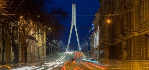 Cable stayed brigde in Riga, Latvia.